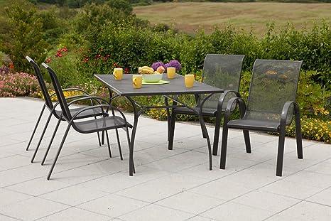 MERXX Gartenmöbel-Set Milos, 5tlg. aus Stahlgeflecht