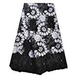 SanVera17 African Lace Net Fabrics Nigerian French Fabric Rope Embroidered and Manual Beading Guipure Cord Lace for Party Wedding 5 Yards (Black) (Color: Black, Tamaño: 48 Inches)