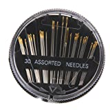 CJESLNA 30pcs Assorted Hand Sewing Needles Embroidery Mending Craft Quilt Sew Case (Color: 30p)