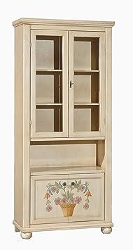 Vetrina in legno finitura avorio pennellato con decori, a 4 porte 89x38 H.198