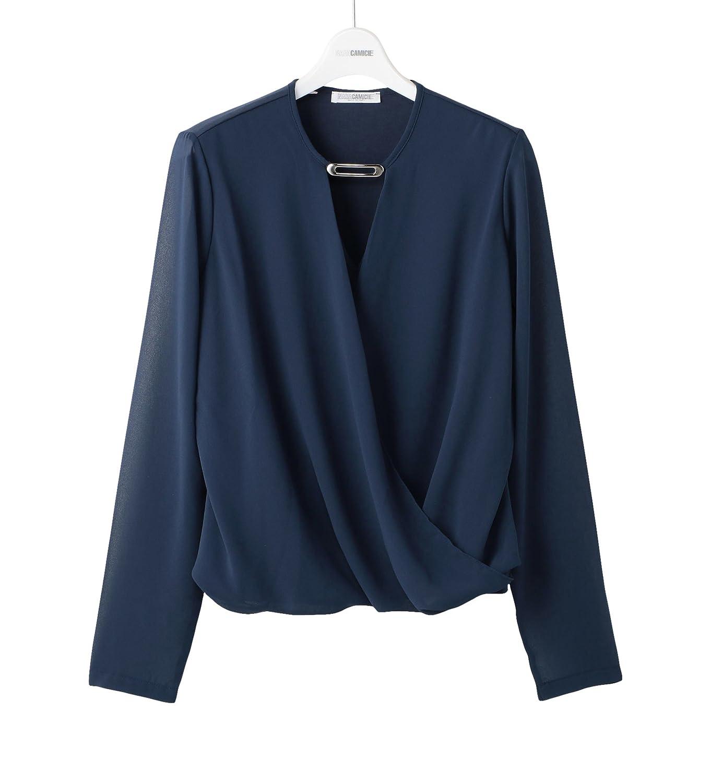 Amazon.co.jp: (ナラ カミーチェ)NARA CAMICIE ポリエステルストレッチカシュクールブラウス: 服&ファッション小物