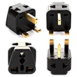 UK, Hong Kong Travel Adapter Plug, OREI Adaptor 2 in 1, For Botswana, England, UAE, Dubai - Safe Grounded Connection - Universal Socket - 4 Pack (Color: Black, Tamaño: 4-Pack)
