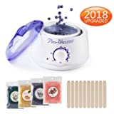 [2018 UPGRADED] Hair Removal Electric Home Waxing Kit Hot Wax Warmer Wax Heater Rapid Melt Hard Wax with 4 Different Flavor Hard Wax Beads and Wax Applicator Sticks For Women and Man