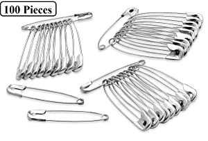 Katzco 100 Piece Safety Pins Set - Coiled Design with Nickel Plated Steel 1-3/4 Inches - for All Types of Fabrics and Clothing, Arts & Crafts Project