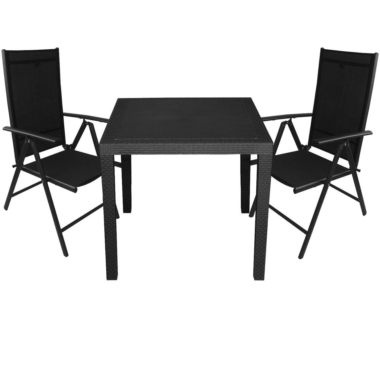 3tlg. Gartengarnitur Aluminium 7-Positionen Hochlehner 2×2 Textilenbespannung Vollkunststoff Gartentisch Rattan Look Sitzgruppe 79x79cm Terrassenmöbel Schwarz günstig bestellen