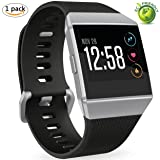 Bands for Fitbit Ionic,Replacement Sport Wristband Accessories for Fitbit Ionic Smartwatch Men Women Black Large