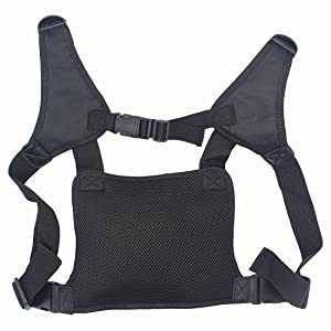 GoodQbuy Universal Radio Harness Chest Rig Bag Pocket Pack Holster Vest for Two Way Radio (Rescue Essentials) (Leather Black) (Color: Leather Black, Tamaño: Leather Black)