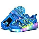 LED Light Up Single/Double Wheel Roller Skate Shoes for Boys Girls Kid(Blue 1 wheel 35 M EU/3.5 M US Big Kid)