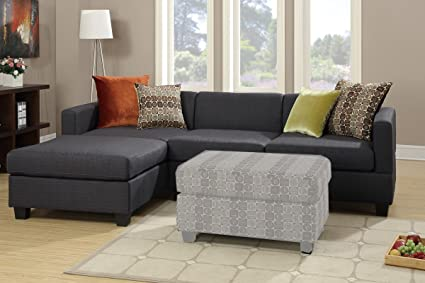 Slate Black Sectional with Reversible Chaise and Four Pillows