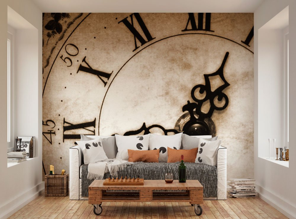 Wall wallpaper mural photo picture classic clock face wall for Create wall mural