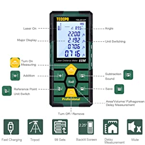 Laser Measure 196ft TECCPO Pro with Li-ion Battery, 99 Sets Data Storage, Electronic Angle Sensor, 2.25' LCD Backlit, Mute Function, Measure Distance, Area, Volume and Pythagoras - TDLM10P (Color: 196ft-USB Charge, Tamaño: 196ft)