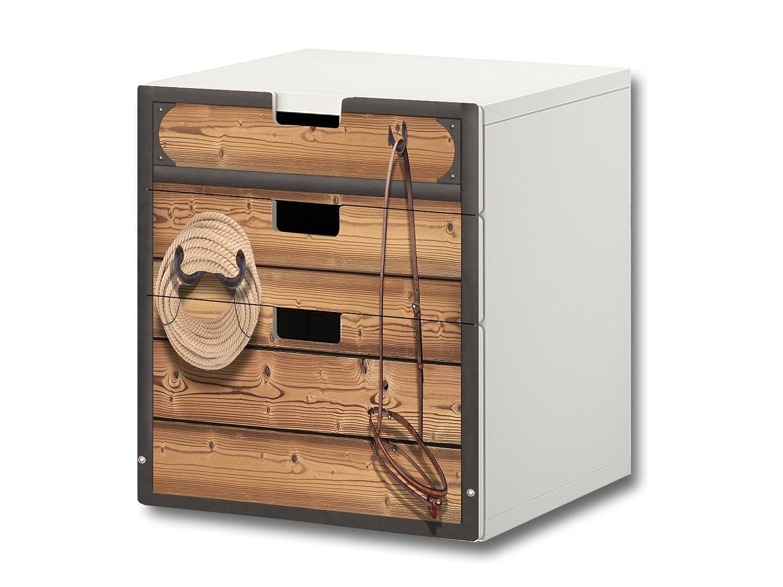 """""""Pferdewelt"""" Möbelsticker / Aufkleber – S3K23 – passend für die Kinderzimmer Kommode mit 3 Fächern / Schubladen STUVA von IKEA – Bestehend aus 3 passgenauen Möbelfolien (Möbel nicht inklusive) online bestellen"""
