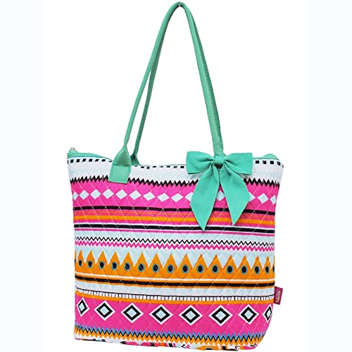 Multi Colored Aztec Tribal Hipster Print Large Ribbon Tote Bag