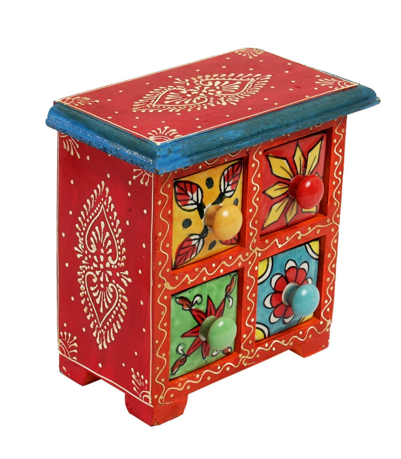 Ethnic Chest of 4 Drawers with Embossed Hand Painted Floral Patterns Multi-purpose Holder
