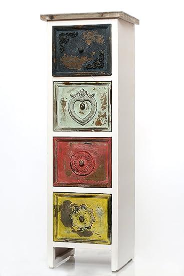 Kommode mit 4 exklusiven Schubladen in bunt, Schrank Kuchenregal Regal Cassetto weiß antik Vintage