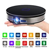 CANGSIKI D8S LED Android 6.0 Smart Projector,4K Decoding True 3D Home Theater Protable Video Projector Octa-core RK3368 CPU with GooglePlay/Netflix/Youtube/Kodi/LiveTV , 3500 Lumens 1080p HD Pico DL(3 (Color: black, Tamaño: 17.4mmx42mm)
