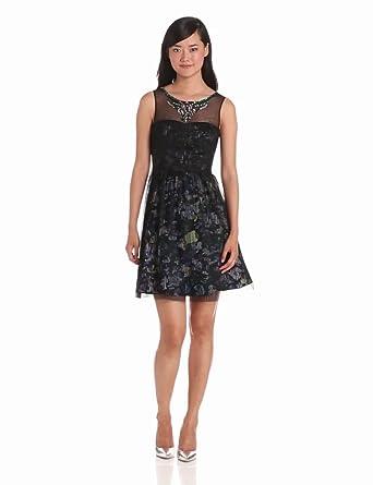 BCBGMAXAZRIA Womens Teegan Pleated Dress with Beaded Neckline, Black, 0