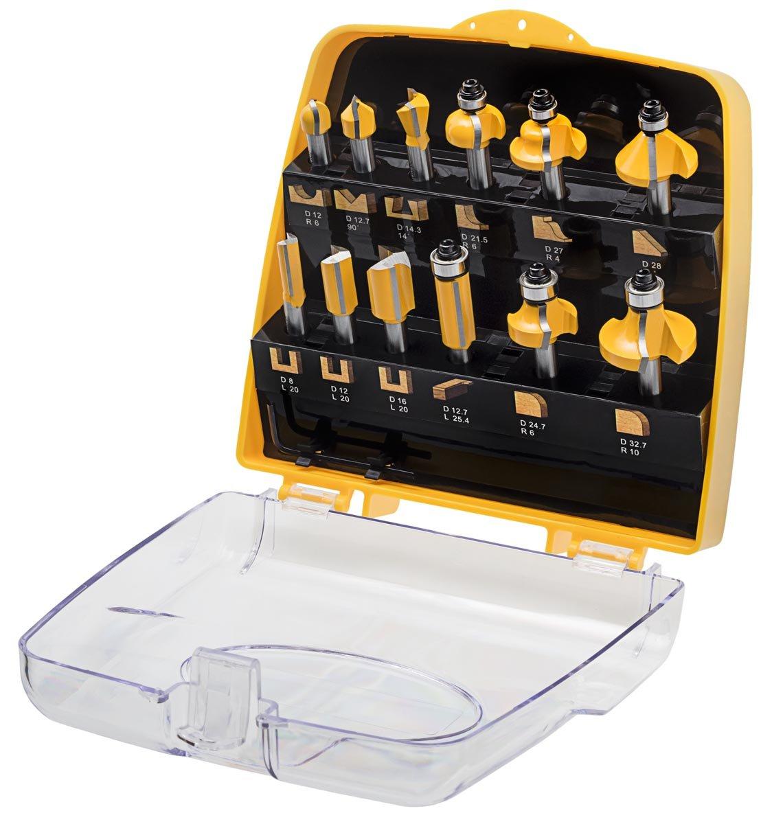 ENT 12tlg. Oberfräser Fräser Set in gelber Kunststoffkassette  Schaft Ø8mm  BaumarktÜberprüfung und weitere Informationen