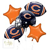 Andaz Press Balloon Bouquet Party Kit with Gold Cards & Gifts Sign, Chicago Bears Football Themed Foil Mylar Balloon Decorations, 1-Set (Color: Sports Chicago Bears)