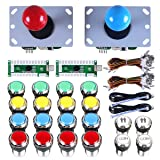 Gamelec 2-Player Classic Arcade Contest DIY Kits USB Encoder To PC Joystick,8 Ways Sticker and LED Illuminated Push Button 1 & 2 Player Coin Buttons For Arcade MAME Raspberry Pi Games