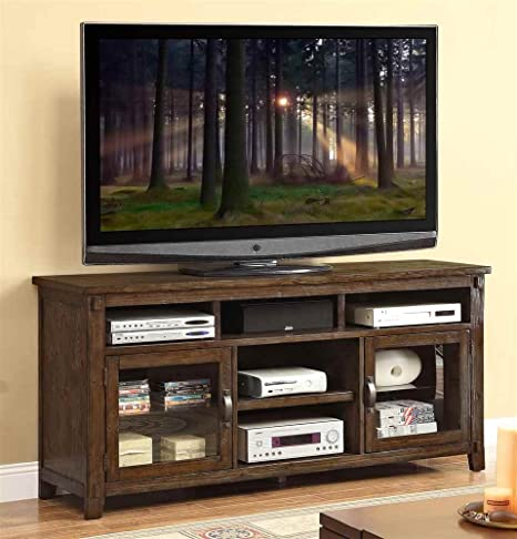 72.5 in. TV Cabinet in Rustic Walnut Finish