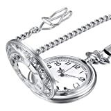 LYMFHCH Classic Smooth Vintage Gold Quartz Pocket Watch, Roman Numerals Scale Mens Womens Watch with Chain (White)