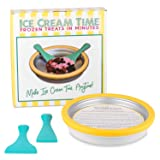 IceCream Maker - Frozen Treats in Minutes - Ice Cream Time Pan - Frozen Yogurt, Sorbet, Gelato - Family Fun, Healthy Alternative to Store bought Ice Cream (Color: Yellow and Teal, Tamaño: 10