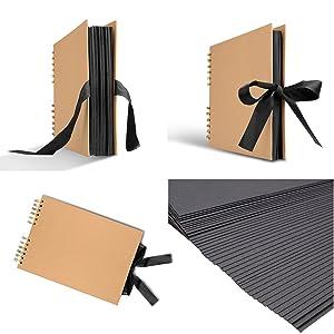 Innocheer Scrapbook with Photo Album Storage Box, 80 Pages Craft Paper DIY Anniversary, Valentines Day Gifts, Wedding Photo Album with DIY Accessories Kit