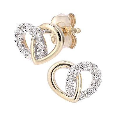 Naava 9ct Gold Diamond Heart Link Earrings