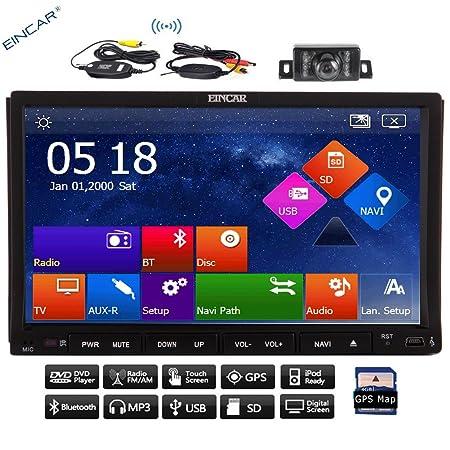 Caméra de recul sans fil + 2DIN universel 17,8cm voiture lecteur DVD GPS Navigation capacitif HD écran muilt-touch stéréo de voiture Vidéo Audio AM FM Radio + Bluetooth