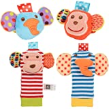 ThinkMax Baby Rattle, 4PCS Baby Wrist Rattle and Foot Rattles Finder Socks Set, Developmental Soft Animal Rattles Infant Baby Toys (Monkey and Elephant) (Color: Monkey and Elephant)