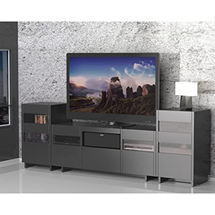 Stylish Black TV Stand Set with Two Audio Stands FMP25465