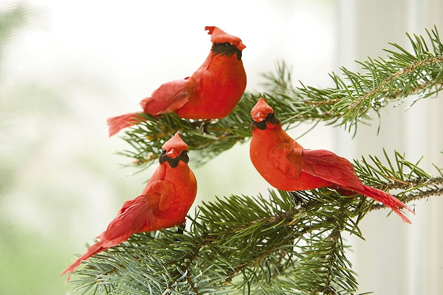 bird tree ornaments - Cardinal Clip-On Ornaments, Set of 3