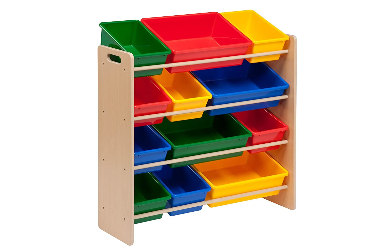 Toy organizer bins or stackable toy drawers to stow away games and puzzles can keep things out in the open, but still neat and tidy. Floors will be easy to keep clear thanks to cute wall organizers and easy ideas for stuffed animal storage.