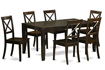East West Furniture LYBO7-CAP-W 7-Piece Formal Dining Table Set, Cappuccino Finish