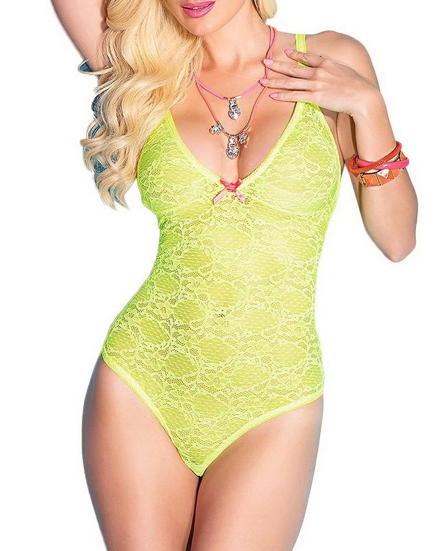 Bigood Lace Damen Blume Druck Sexy Dessous Sets Erotik Lingerie Babydoll Grün
