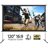 Yaheetech 120-INCH 16:9, 4K Ultra HD, Active 3D, HDR Ready Portable Movie Home Theater Projector Screen Front Projection with Stand Legs and Carry Bag (Color: White, Tamaño: 120
