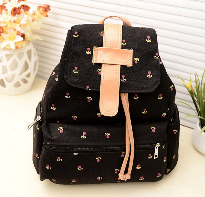 ZPS Fashion Girls Canvas Pastoral Floral Flower Leisure Backpack School Bag