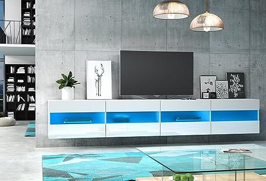 Rita double Meuble TV Design blanc mat avec blanc brillant. Eclairage à la LED bleue.