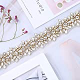 XINFANGXIU Gold Rhinestone Wedding Applique by The Yard, Crystal Bridal Belt Applique Handcrafted Sparkle Elegant Thin Sewn or Hot Fix for Women Gown Evening Prom Dresses Sashes (Color: Gold-t, Tamaño: 36*1.26 inches)