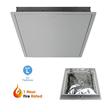 1 Hour Steel Fire Rated Insulated Drop Down Hinged Loft Hatch Access Door 542 x 630mm