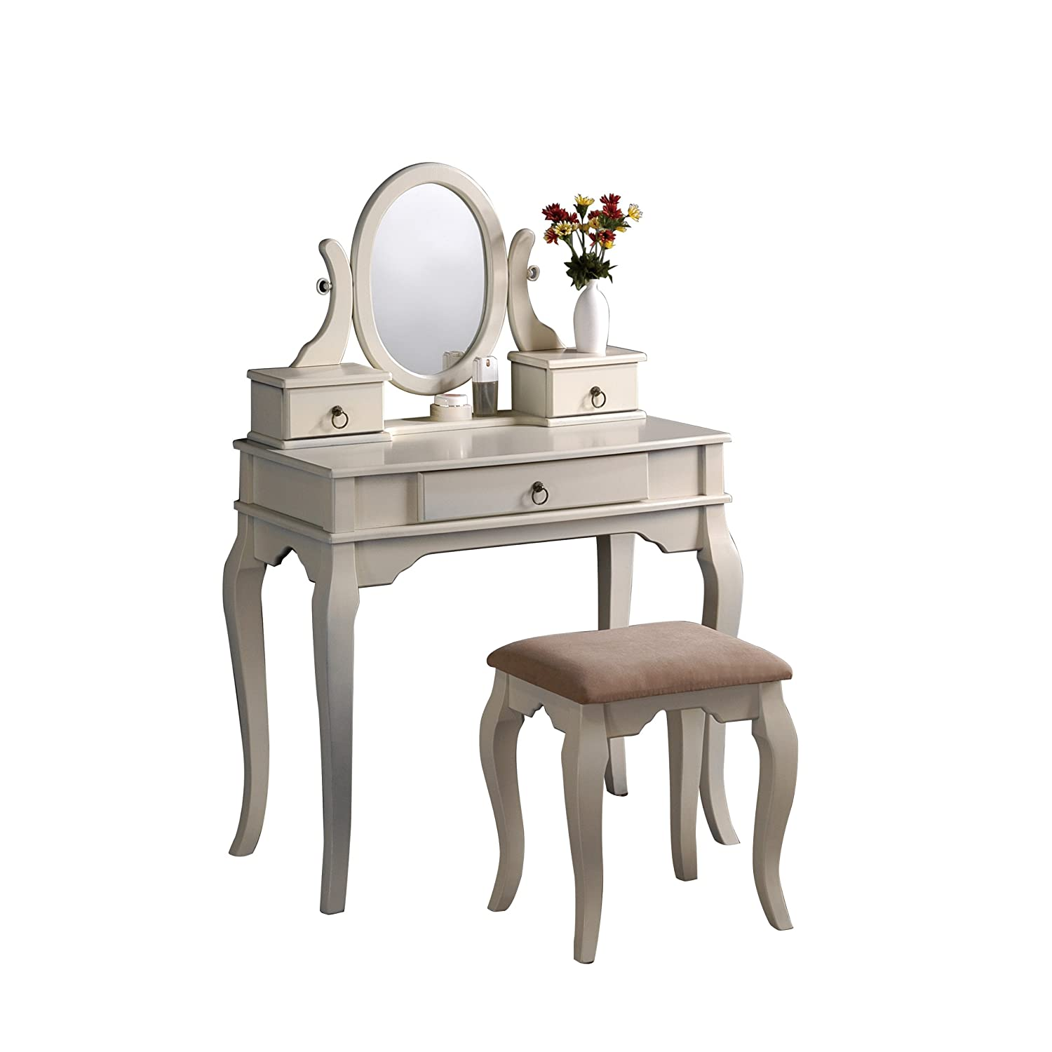 Wood Vanity With Bench Mirror Jewelry Boxes Makeup Table Antique White Ebay