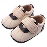 Lidiano Baby Boy Toddler Dull Polish Non Slip Rubber Sole Sneakers 0-18 Months (6-12 Months, Beige)
