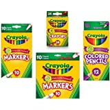 Crayola Crayons (24 Count), Crayola Colored Pencils in Assorted Colors (12 Count), Crayola (10ct) Classic Fine Line Markers, and Crayola (10ct) Classic Broad Line Markers Holiday  Bundle (Tamaño: Marker)