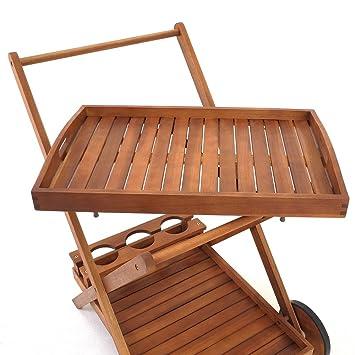 Chariot de service desserte roulettes plateau for Tablette bois acacia