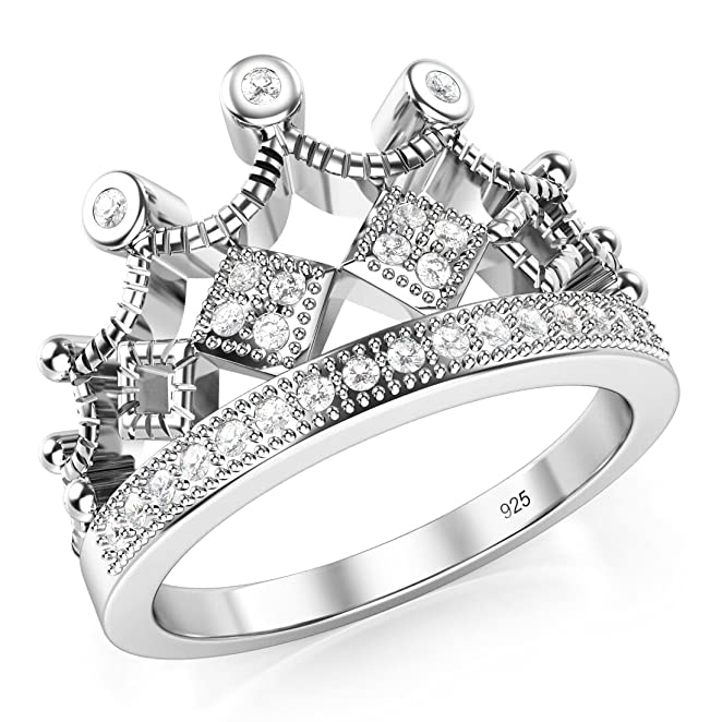 Amazon: 925 Sterling Silver Cubic Zirconia Princess Crown Tiara CZ Band Ring