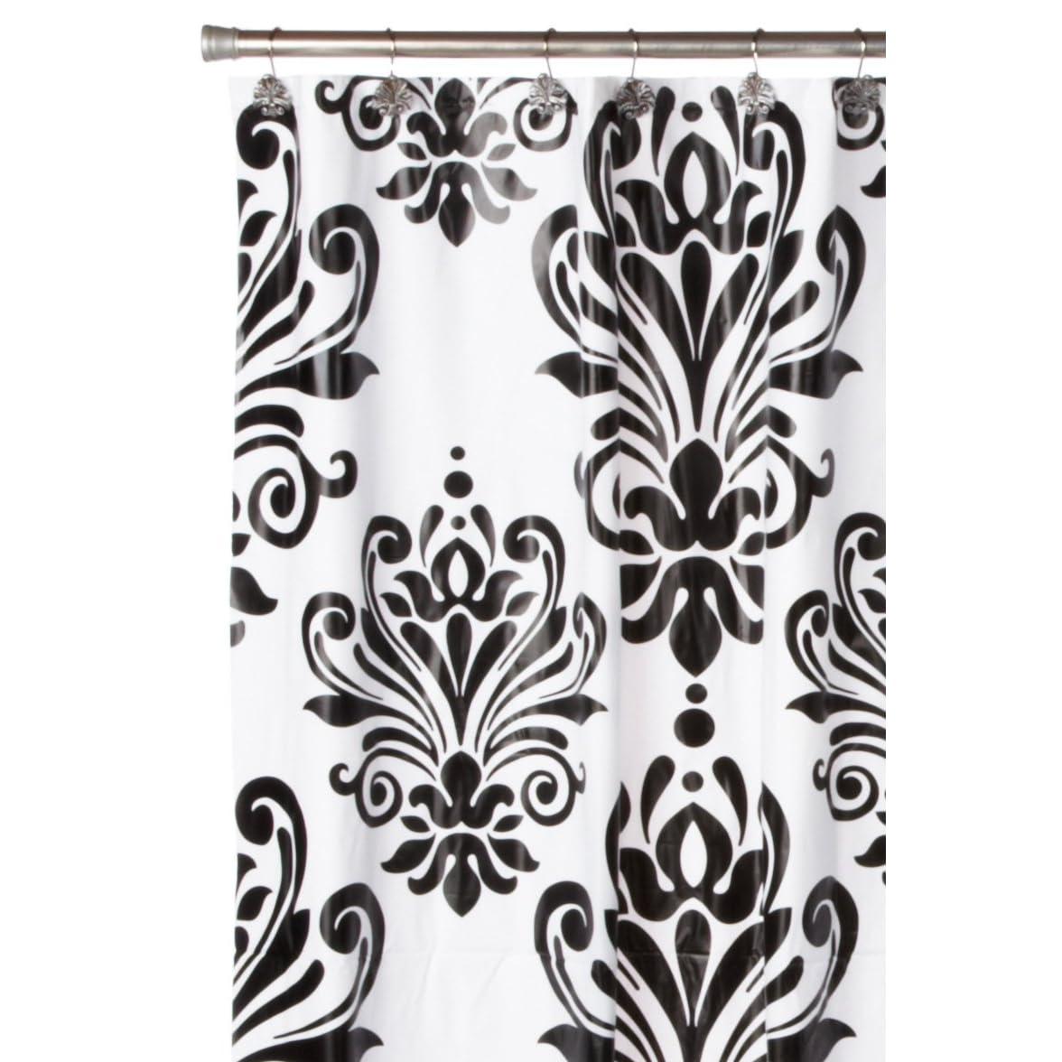 Black and white damask shower curtain - Black And White Shower Curtain