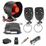 UHeng Car Alarm Vehicle Security System Keyless 2 Remote Control Siren Horn (Color: Black, Tamaño: L)