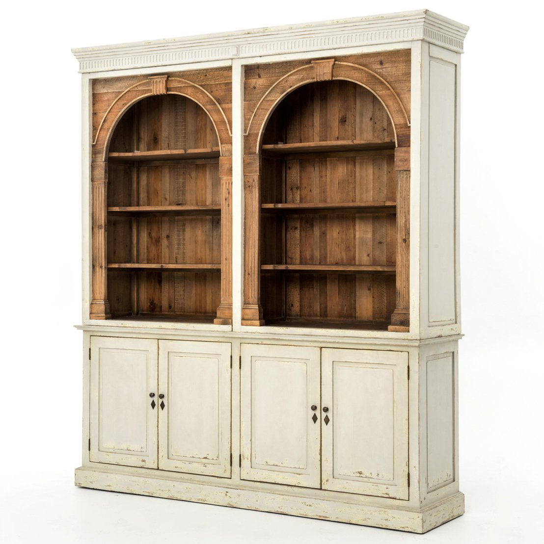 Laurine French Country Rustic Ivory Arch Wood Cabinet 0