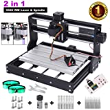 2 in-1 5500MW Laser Engraver CNC 3018 Pro Engraving Machine, GRBL Control 3 Axis DIY Mini CNC Machine Wood Router Engraver with Offline Controller + ER11 Extension Rod + End Mill Bits for PCB Wood (Tamaño: 5.5w)